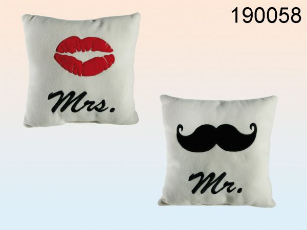 Kissen, Mr & Mrs,<br> 100 % Polyester,<br>ca. 25 x 25 cm