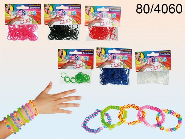 Rubber Bracelet<br> Set, Loom V bands,<br>6 assorted colo