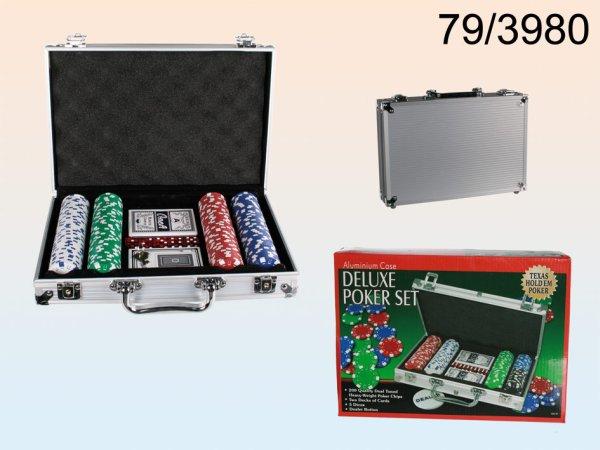 Póker szett<br> alumínium esetében<br>5 dobókockával
