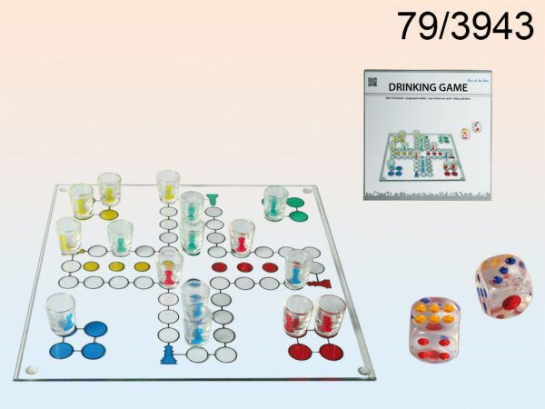 Glass drinking<br> game, Ludo with 16<br>glasses and two