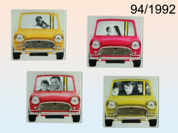 Glass photo<br>frames, car, 6x10cm