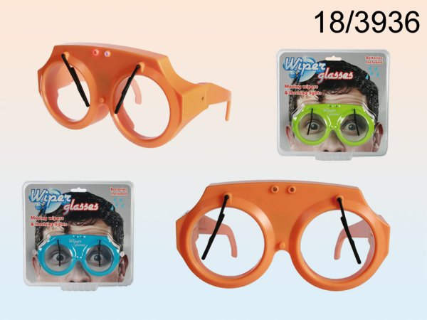 Blinkende<br> Kunststoff-Brille,<br>Scheibenwischer,