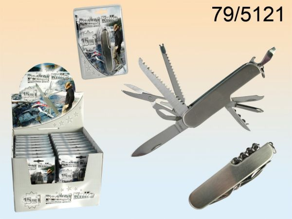 Stainless steel<br> pocket knife with<br>15 functions