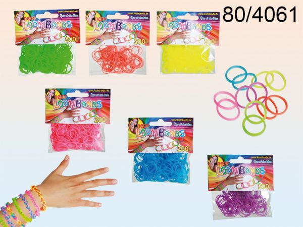 Rubber Bracelet<br> Set, Loom bands<br>VI, 6 neon colors