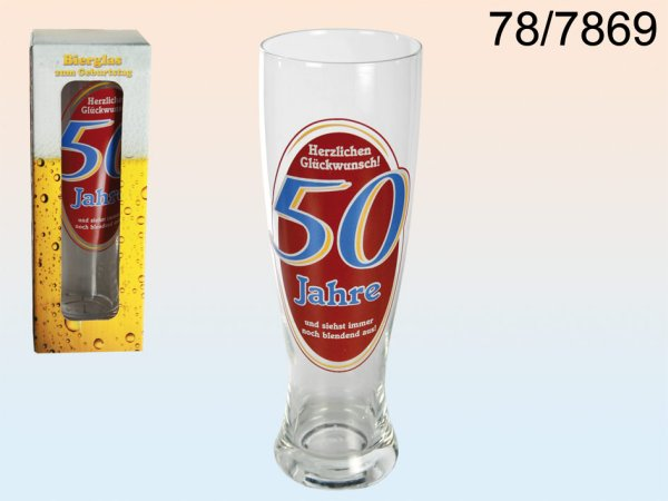 Wheat Beer Glass,<br>Happy Birthday, 50