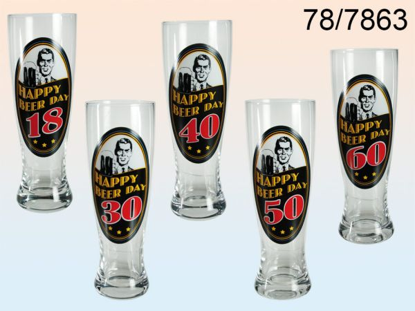 Wheat Beer Glass,<br> Happy Birth Day -<br>18 - 60 years