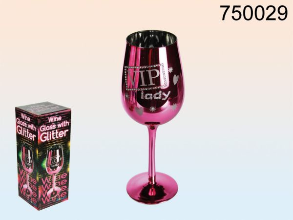 Fuchsia wine glass<br> with silver<br>glitter-B