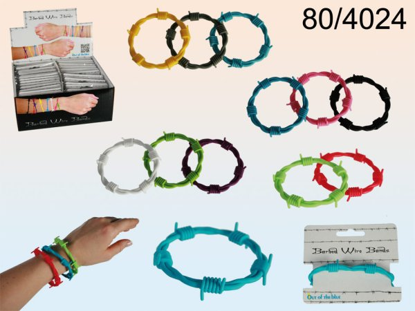 Silicone bracelet,<br> barbed wire,<br>12-Assorted Colors