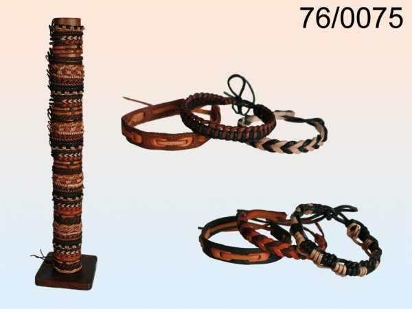 Leather Bracelet,<br> Natural Ethno, 12<br>assorted,