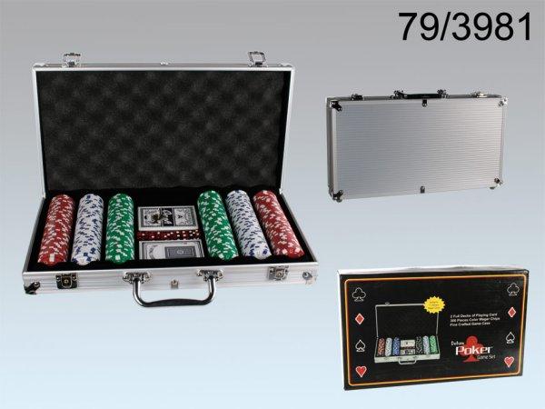 Póker szett<br> alumínium esetében<br>5 dobókocka,