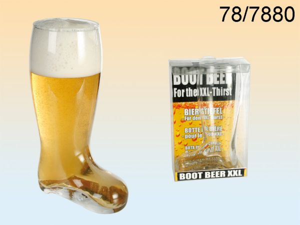 Glass Beer Boot<br> for about 800 ml,<br>H: 22.5 cm