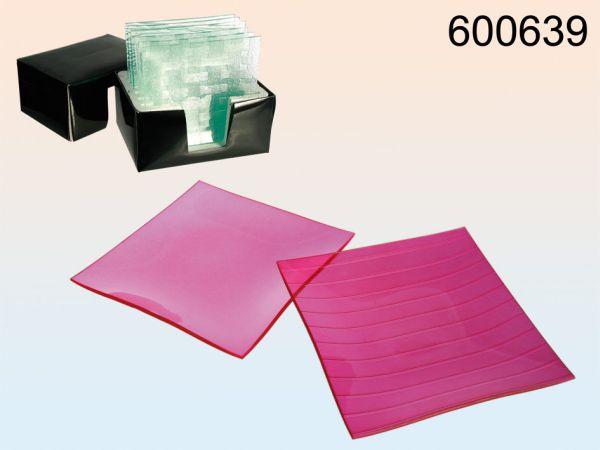 Glasdekoschale,<br> pink, approx 20 x<br>20 cm