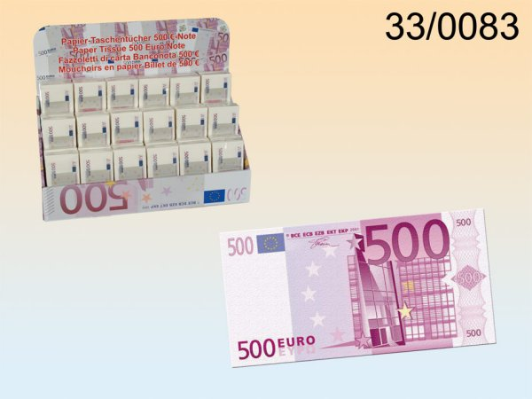 Tissues, € 500<br>note, 3-ply