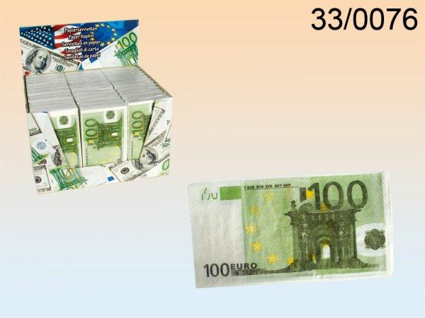 Papierservietten,<br>100 €-Note, 3-lagig
