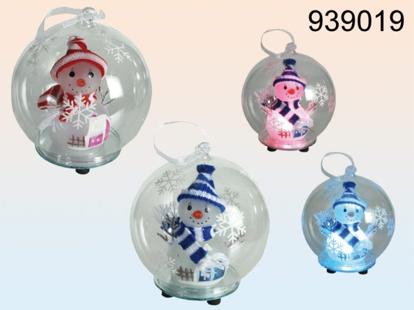 Glass ball with<br> snowman &amp;<br>color changing LED