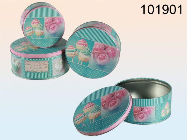 Round, green /<br> pink colored metal<br>cookie jar