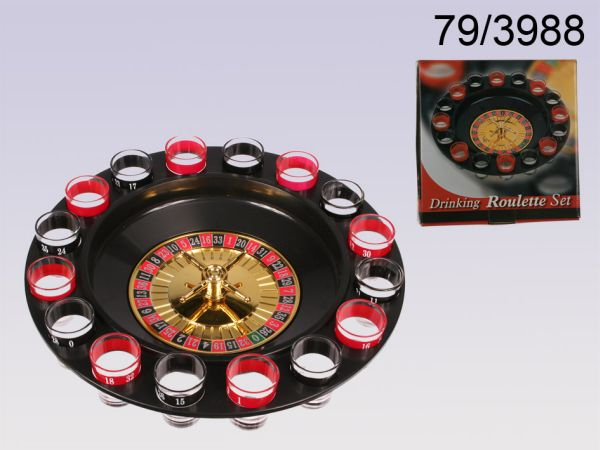 Plastic drinking<br> game, roulette<br>with 16 glasses