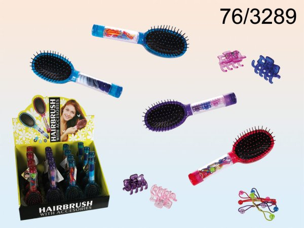 Hair brush with<br> accessories under<br>control