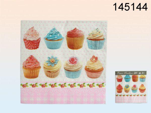 Papier-Servietten<br> (rosa & blaue<br>Cupcake Motive)