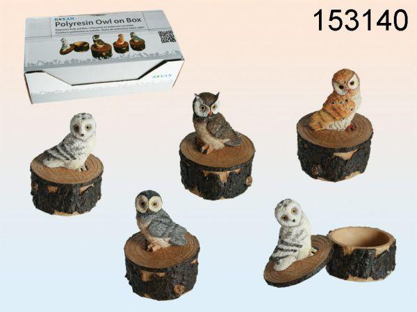 Polyresin owl on<br> polyresin box,<br>approx 8.5 x 6 cm