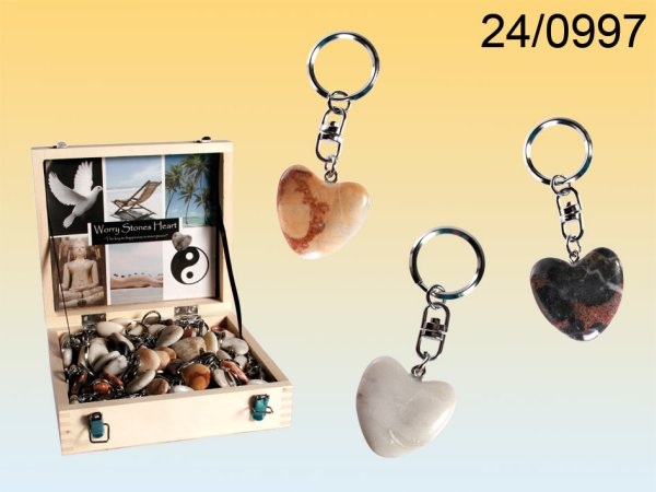 Stone key chain,<br>Worry Hearts,