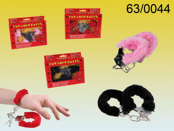 Plush Handcuffs,<br> red, pink, black<br>and sorted
