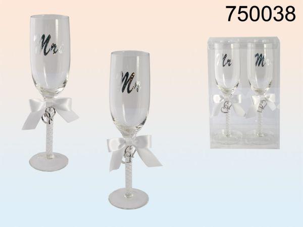 Sektglas mit 2<br> Metallherzen Mr. &<br>Mrs.
