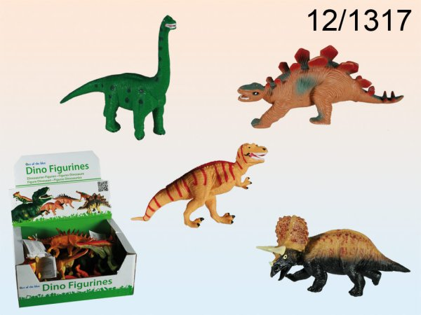Sorted solid<br> rubber dinosaurs,<br>about 16 cm, 4-fold