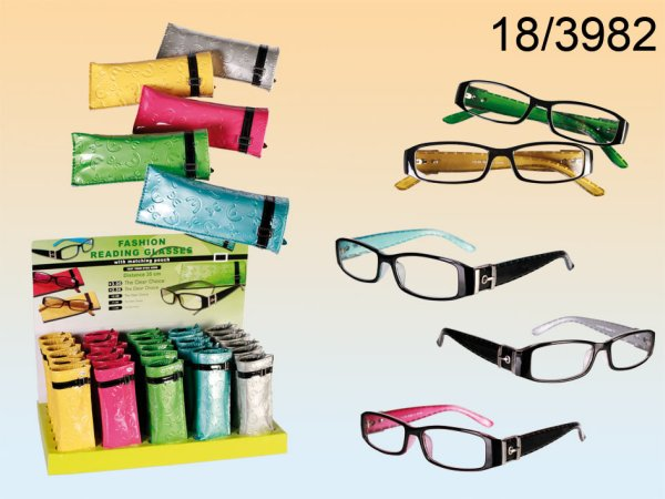Reading glasses<br> with plastic<br>frames in PVC cover