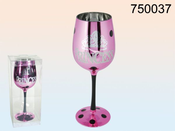 Fuchsia Wine Glass<br> Princess with<br>black handle