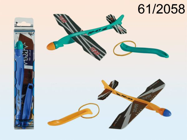 -Kunststoff<br> Flugzeug mit<br>Gummibandkatapult