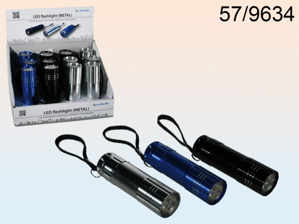 Metal flashlight<br>with 6 LED 8,5cm