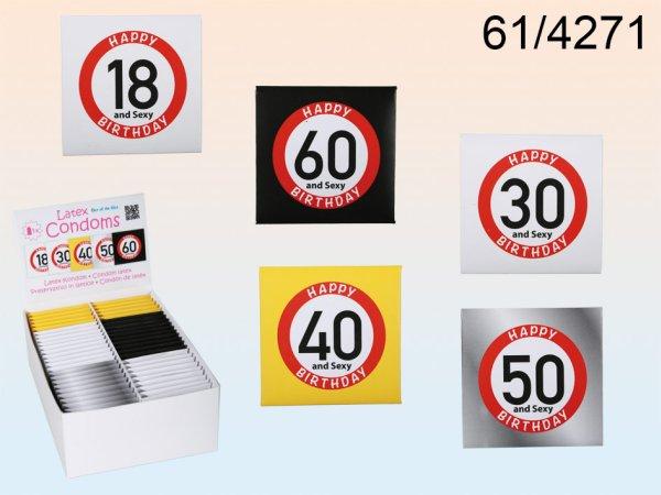 Latex Kondom Happy<br> Birthday 5-fach<br>sortiert