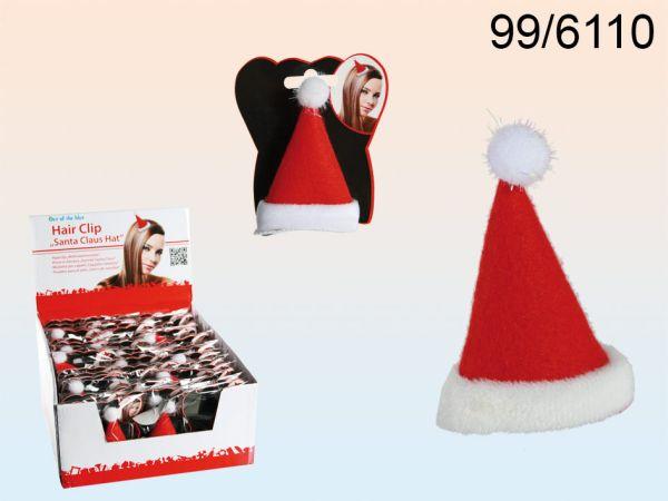 Filc klip do<br> włosów, kapelusz<br>christmas, około 8 c
