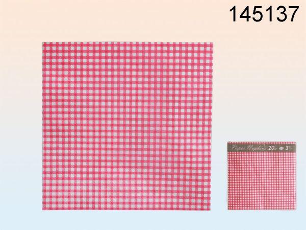 Papier-Servietten<br> (pink/weiß<br>kariert) Restposten