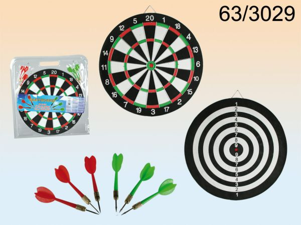 Double-sided<br> dartboard with 6<br>darts, D: 36.5 cm