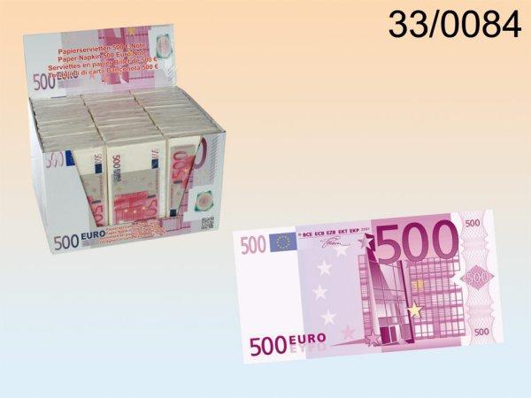 Papierservietten,<br>500 €-Note, 3-lagig