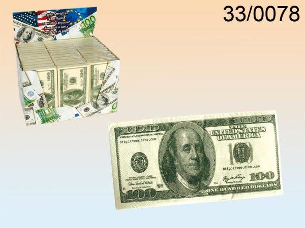 Papierservietten,<br> 100 $-Note,<br>3-lagig Restposten