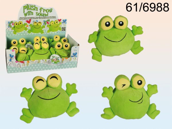 Plush Frog with<br> animal sound,<br>about 14 cm