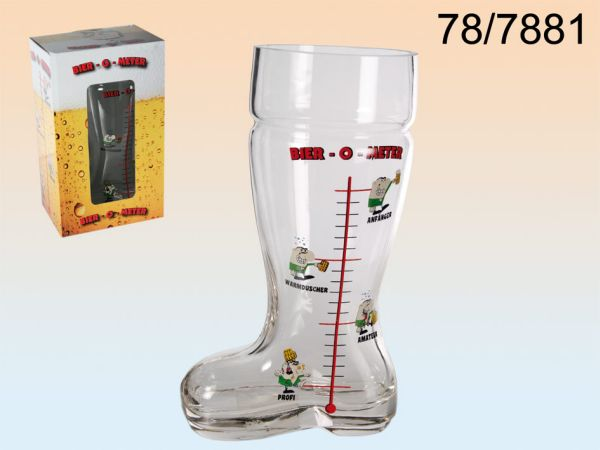 Glass beer boots,<br>beer-O-Meter