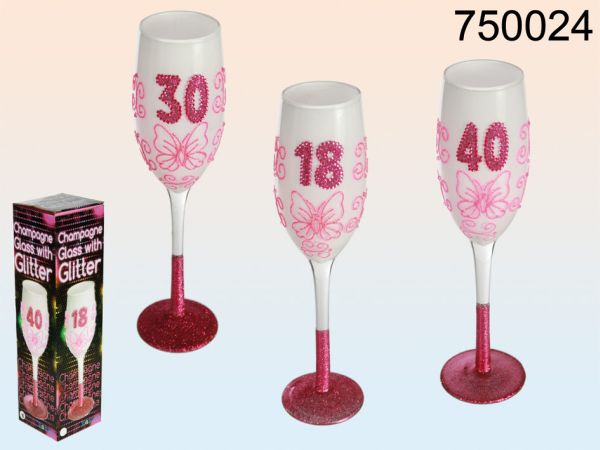 White champagne<br> glass with pink<br>glitter