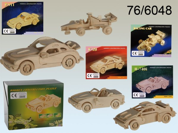 Natural wood 3D<br> Puzzle, cars, 4 x<br>15 cm