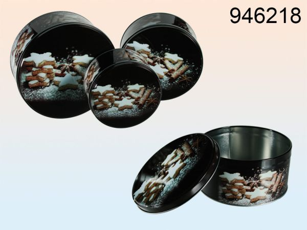 Round metal<br> biscuit tin with<br>Zimtgebäckdekor