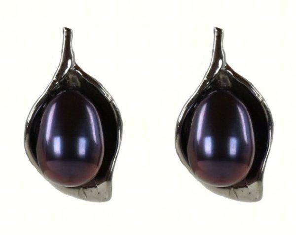 Freshwater pearl<br> earring Flower<br>Leaf Dark
