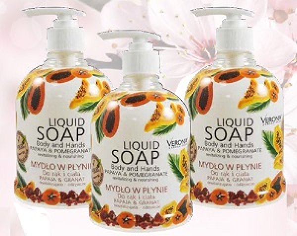 Liquid soap papaya<br> and pomegranate<br>500 ml