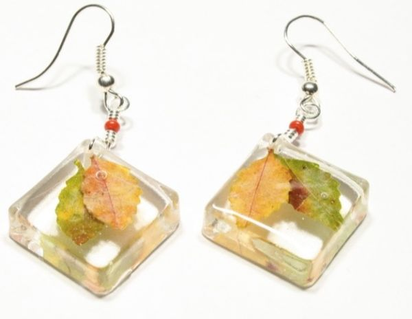 HADE MADE<br> Earrings: resin,<br> leaf, silver ear ...