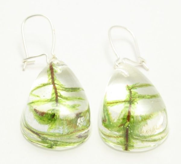 HADE MADE resin<br> earrings with<br>moss, silver ear wir