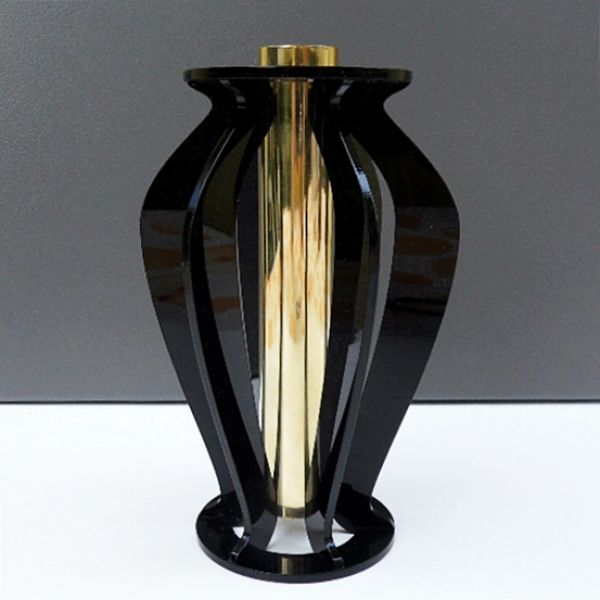 Vase, acrylic and<br>brass, 300