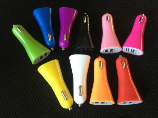USB Car Charger<br> Universal 2-Port<br>Bullet