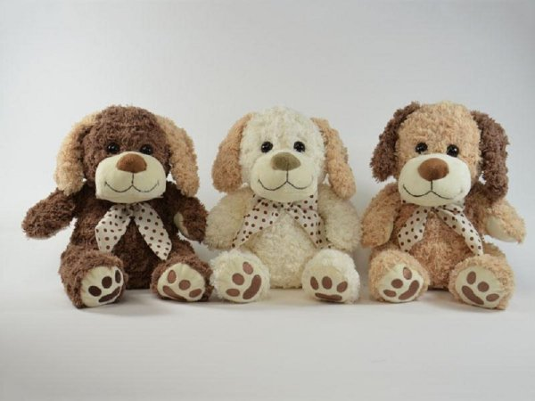 Stuffed animal dog<br> with bow three<br>colors 41cm